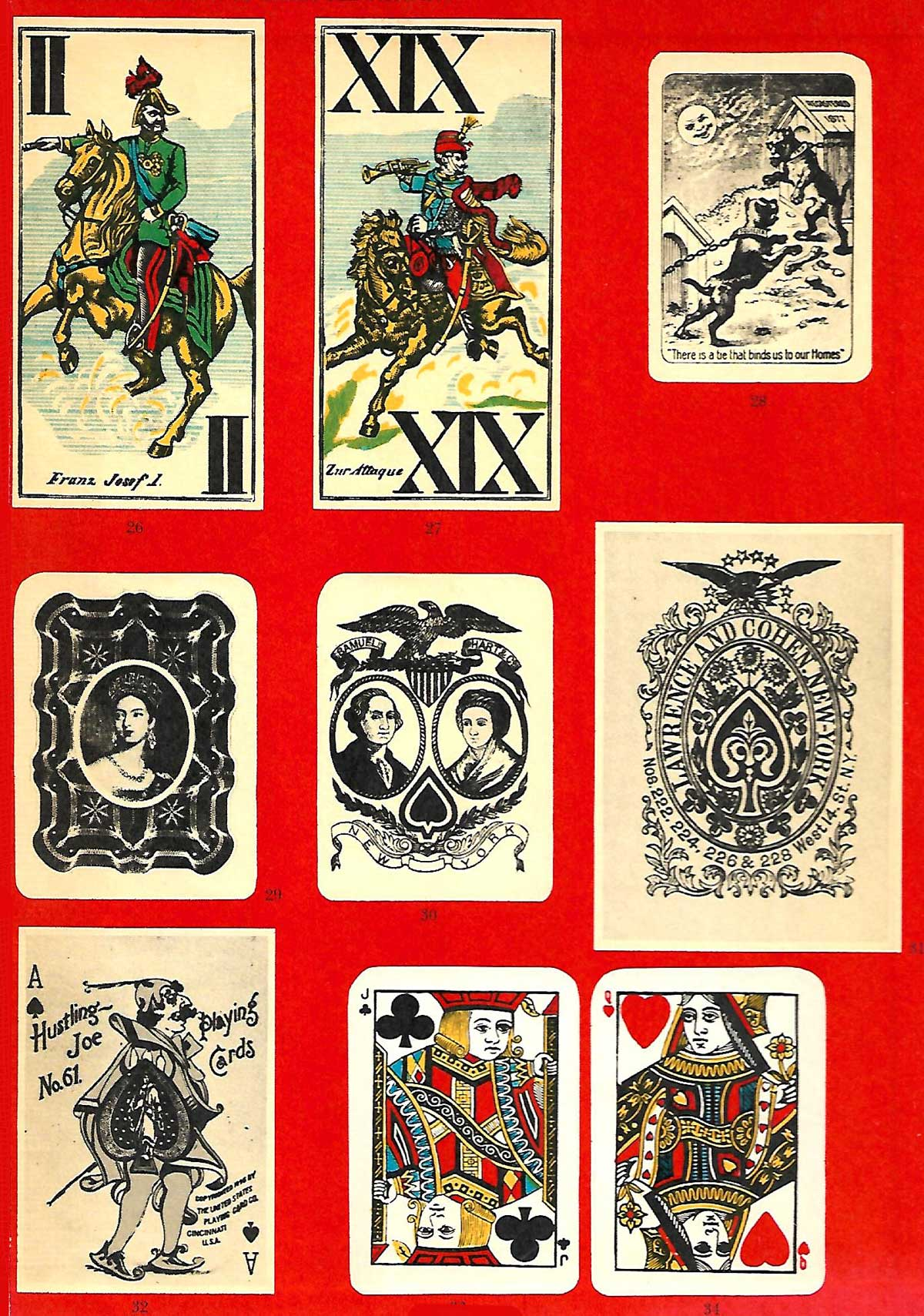 endpaper #4 from Fireside Book of Playing Cards edited by Oswald Jacoby and Albert Morehead, published by Simon & Schuster in 1957