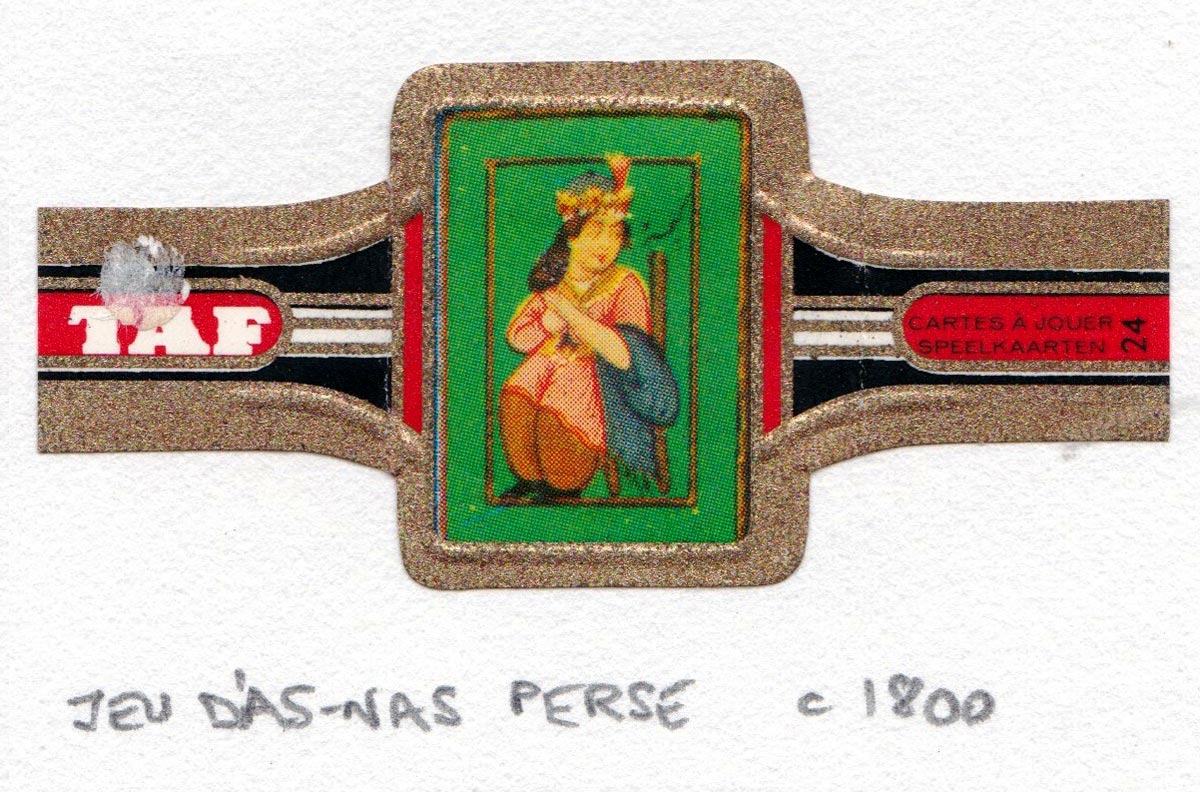 TAF cigar band with miniature playing card c.1965