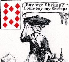 detail from ten of diamonds - Cries of London playing cards - 1754