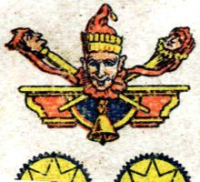 detail from Four of Coins from a Nº 4 pack manufactured by Antonio Moliner, Burgos