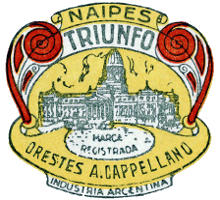 logo on Four of Cups from Naipes TRIUNFO by Orestes A. Cappellano, Buenos Aires, c.1940-45