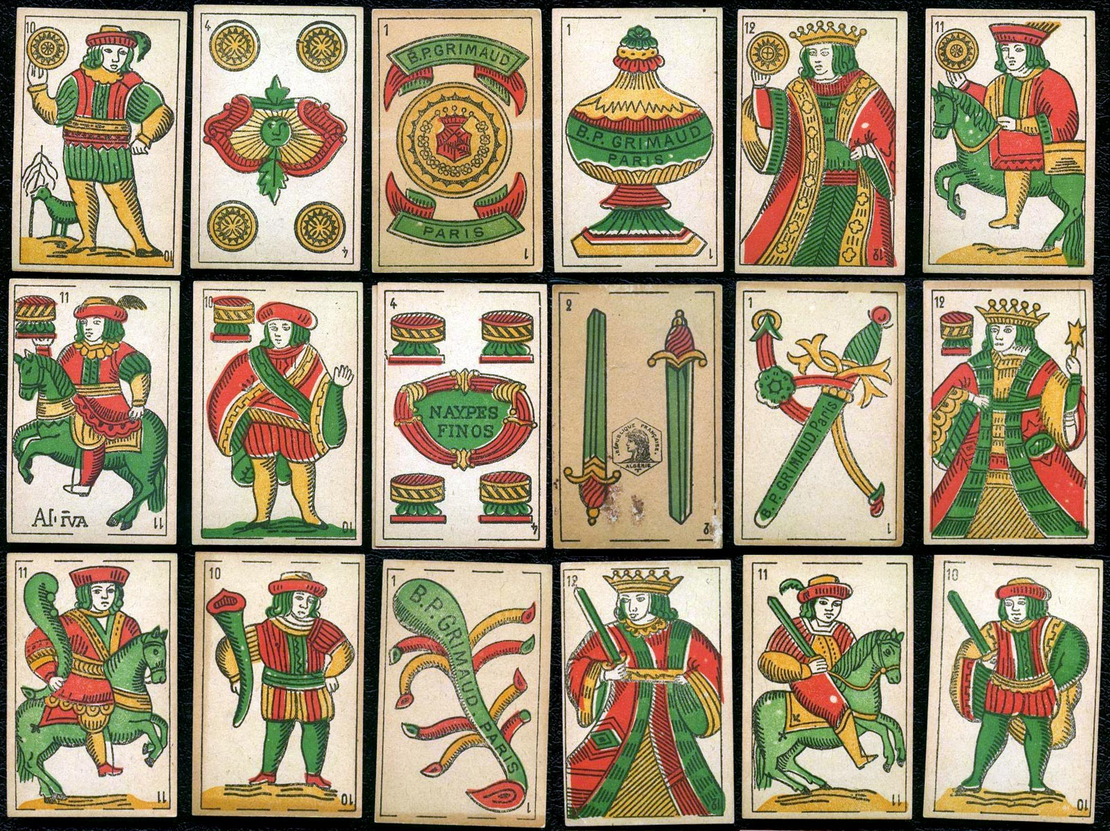 Spanish suited playing cards produced by B. P. Grimaud (Paris) for Algeria, around 1910