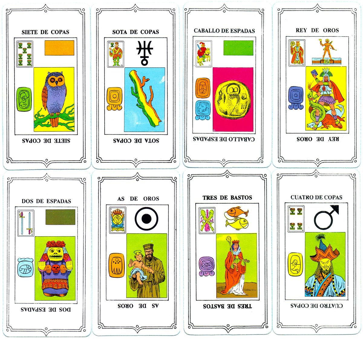 'Cartomancia Astrología Quirologia Tests' fortune-telling cards, 40 large-size cards in box, Argentina, c.1985