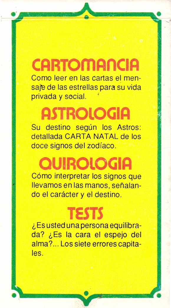 Box from 'Cartomancia Astrología Quirologia Tests' fortune-telling cards, anonymous manufacturer, Argentina, c.1985
