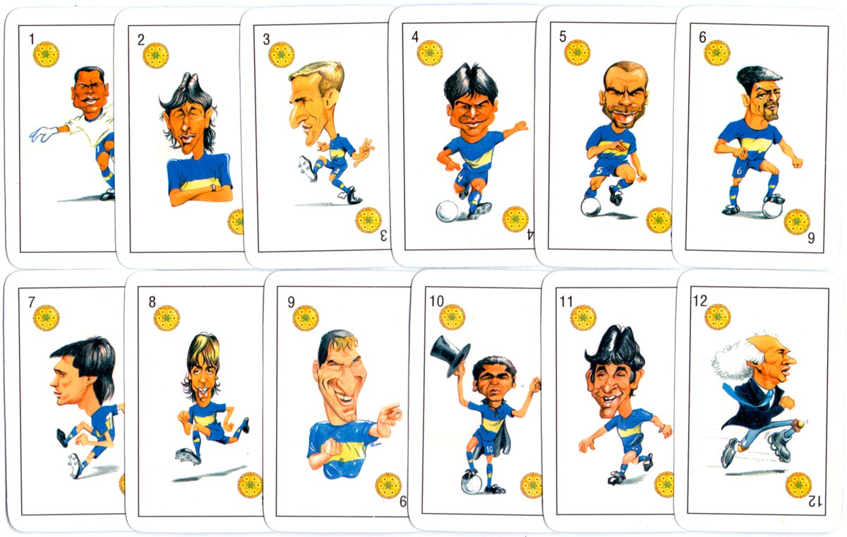 """Desafio"" playing cards with football player caricatures, c.2000"