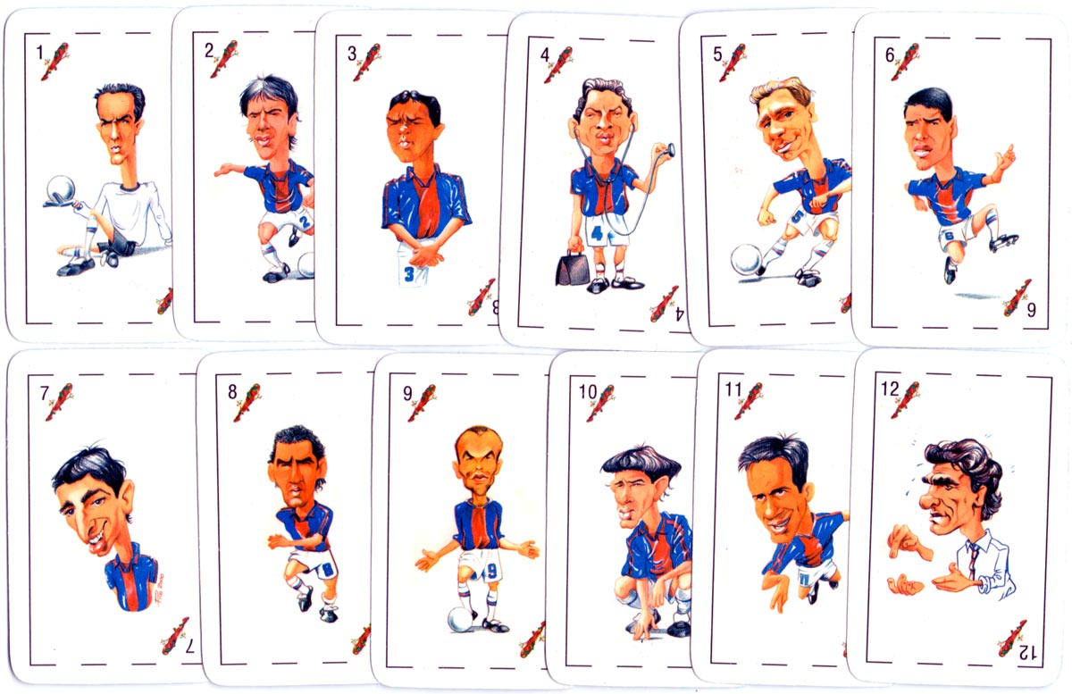 """""""Desafio"""" playing cards with football player caricatures, c.2000"""