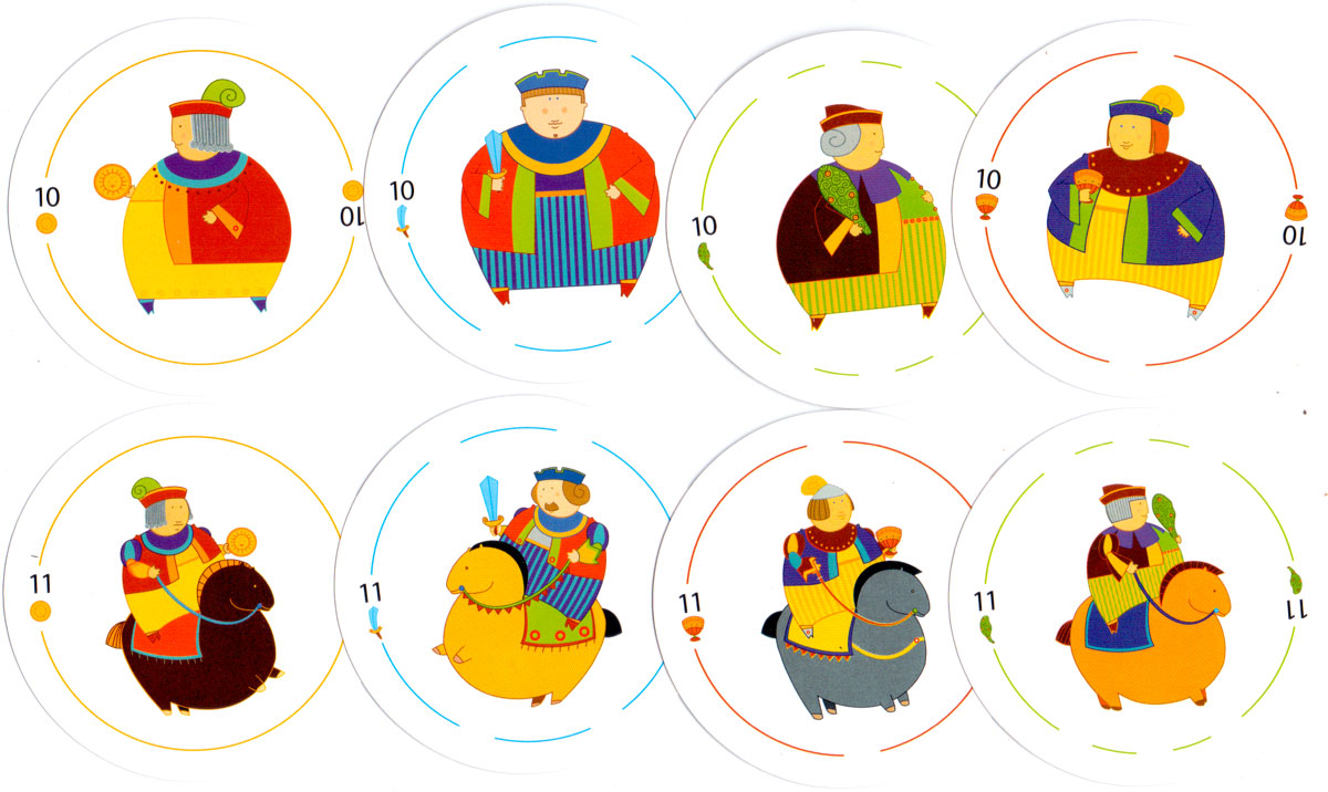 Circular Spanish-suited playing cards for FATE, 2007