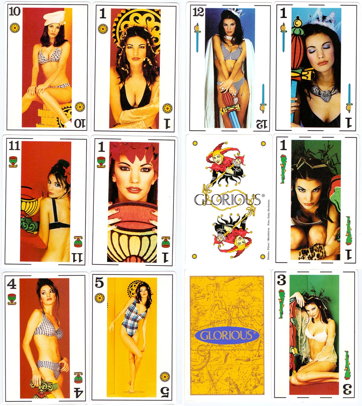 Spanish-suited playing cards featuring the 'Glorious' ladies swimwear collection for 1995, designed by Estudio Fileni/Mendióroz