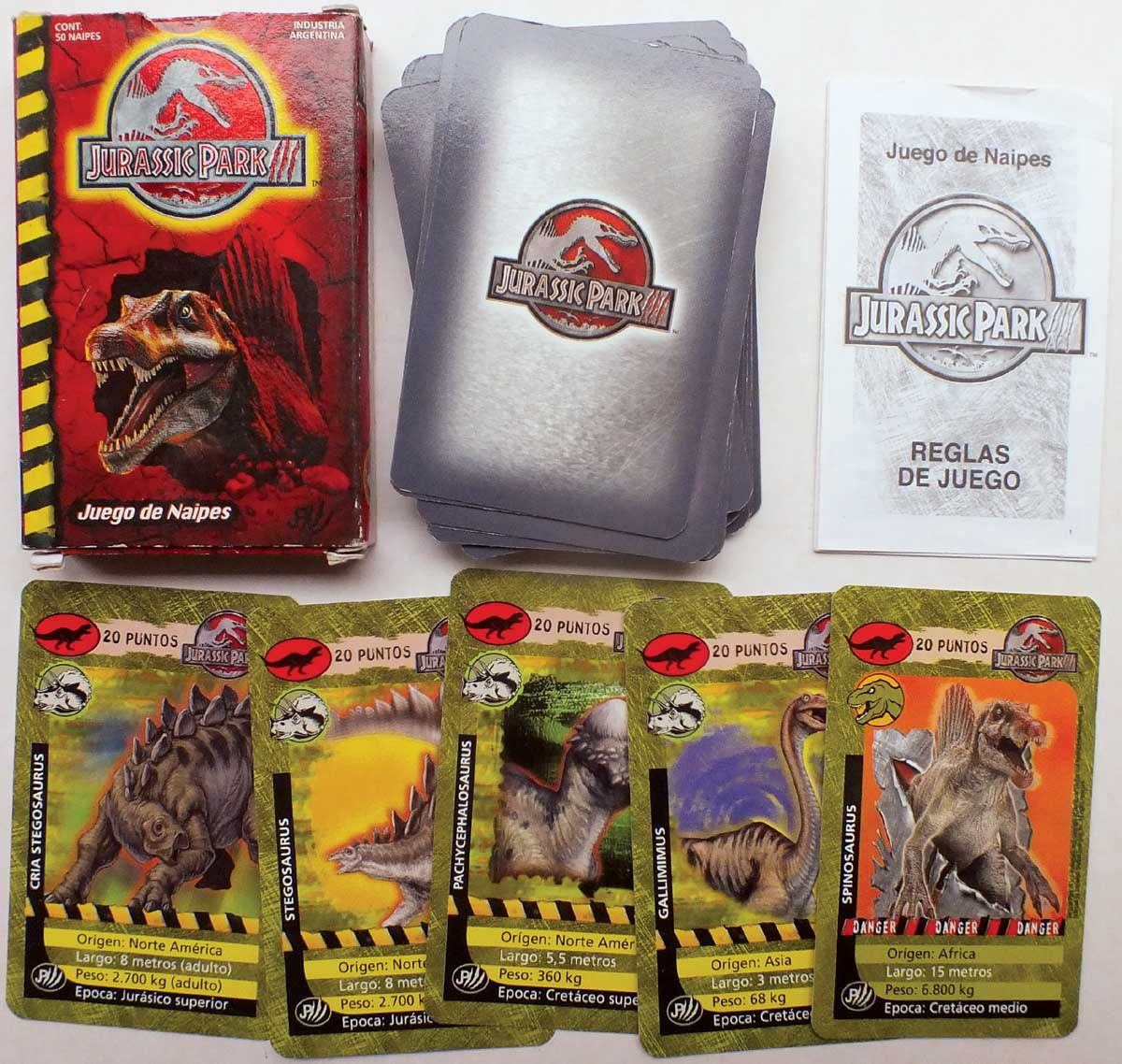 Jurassic Park card game made in Argentina, 2004