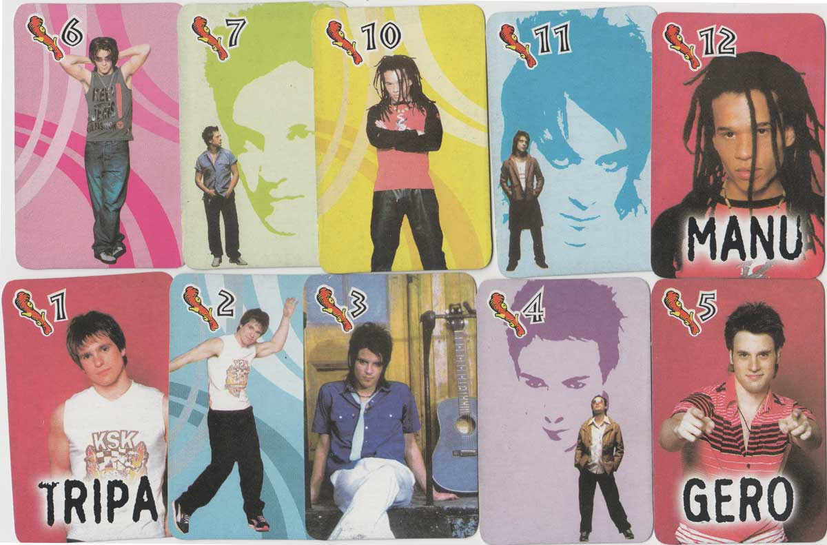 Mambru pop group playing cards from Argentina, 2002