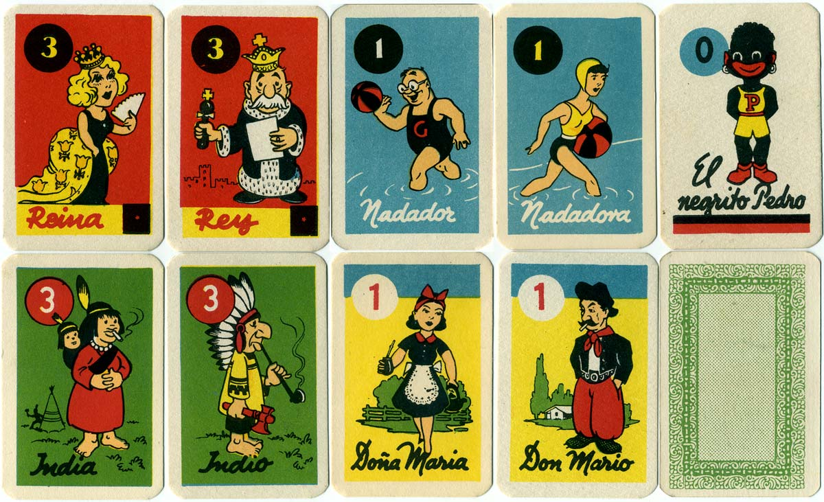 8 cards from El Negrito Pedro card game, c.1950s