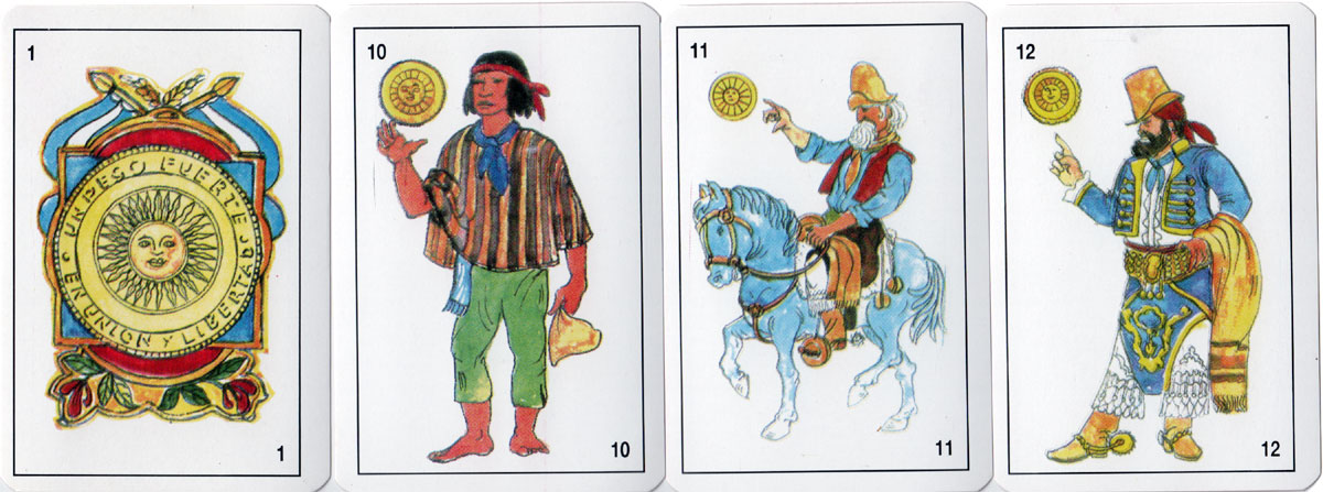 Gaucho playing cards with allegorical suit symbols