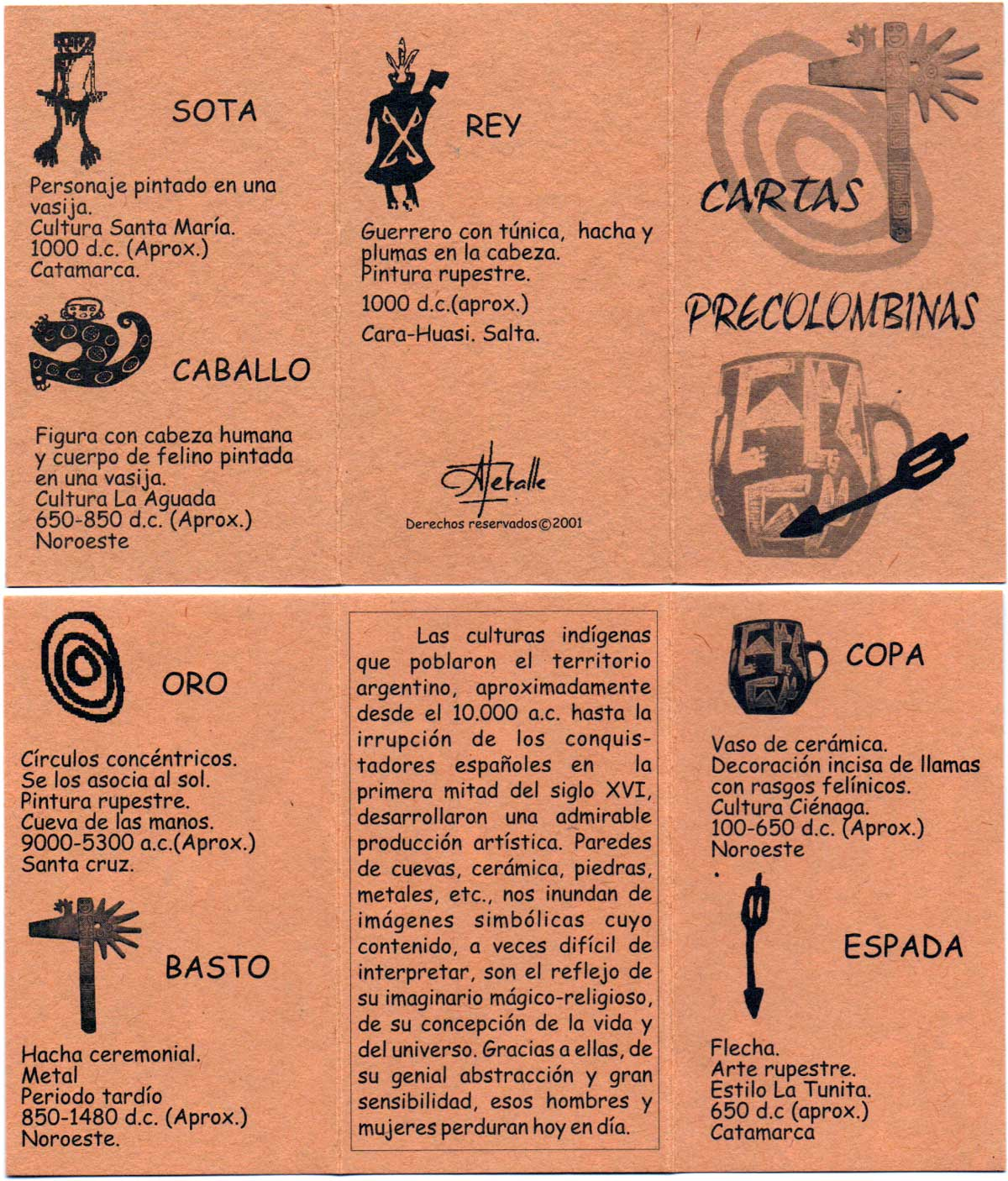 Spanish playing cards with Pre-Columbian designs from Argentina, 2001