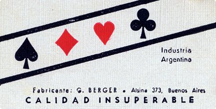 G. Berger, manufacturer of playing cards, Buenos Aires, Argentina c.1935-50