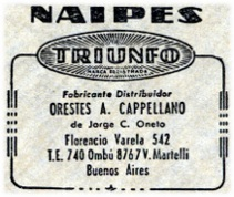 logo on Four of Cups from Naipes TRIUNFO by Orestes A. Cappellano, Buenos Aires, c.1945-55