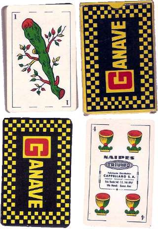 pack of Naipes Triunfo with advertising for Ganave on the back and the box, c.1975-80