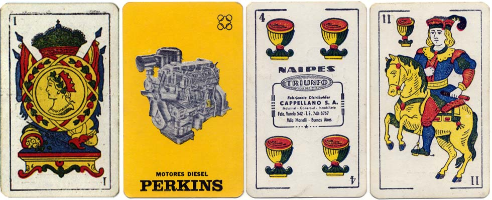 Naipes Triunfo advertisement for Perkins Diesel Motors, c.1970