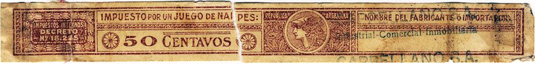 50 centavos brown tax band c.1960