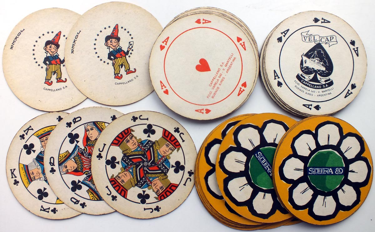 VELCAP circular playing cards, c.1980