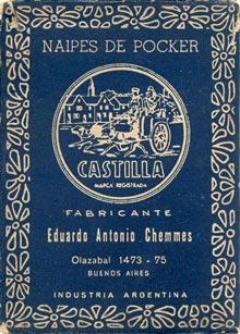 Naipes Castilla, Eduardo Antonio Chemmes, Buenos Aires, c.1950