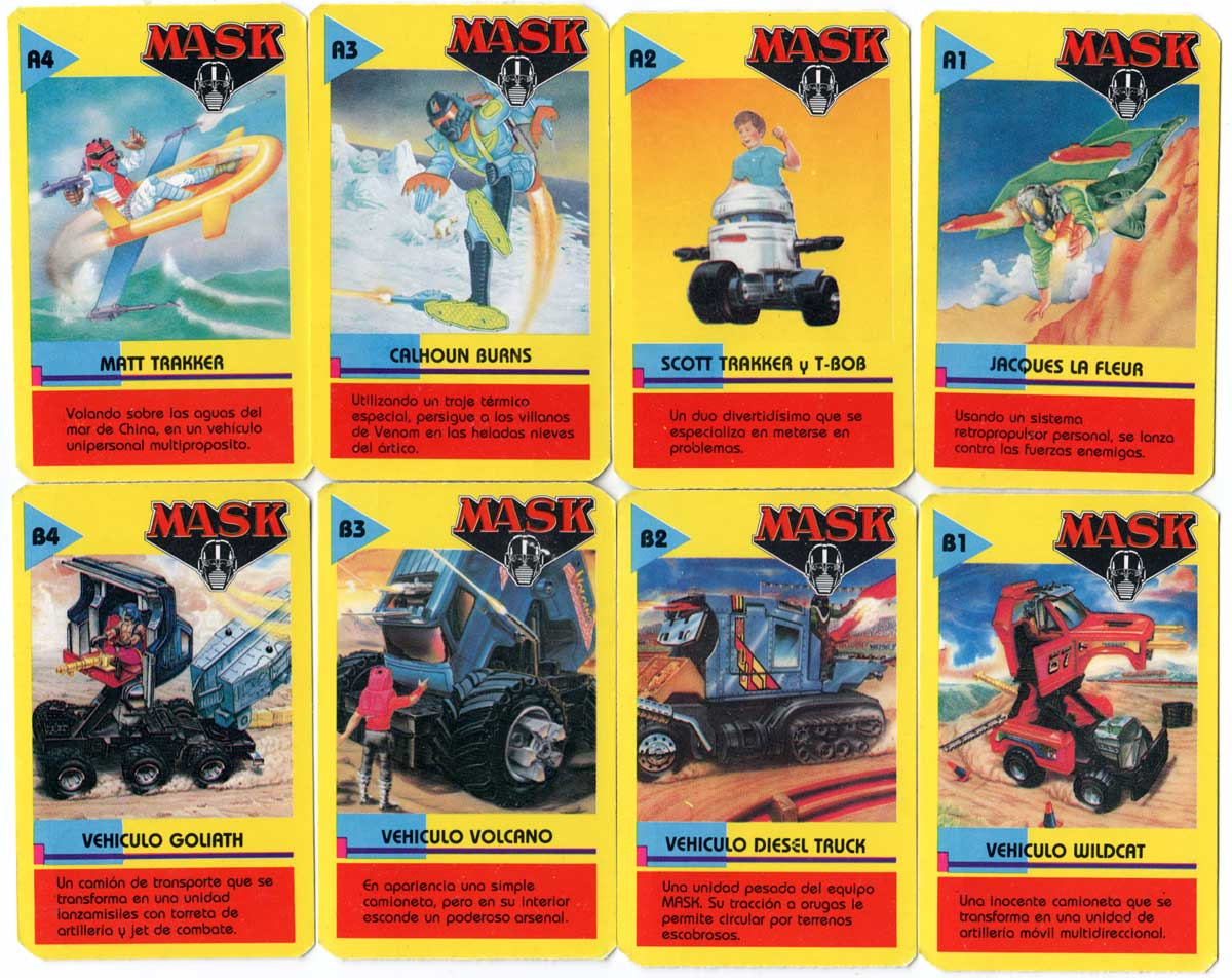 Mask card game published by Cromy, Argentina, 1988