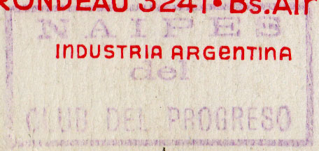 Club del Progreso stamp on ace of hearts, c.1940