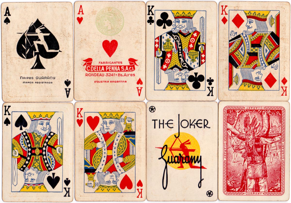 Naipes Guarany by C. Della Penna S.A.C.I. with 'Marianne' tax stamp on the ace of hearts, c.1955-68