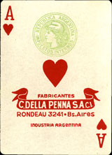 Ace of hearts, naipes Guarany, c.1965
