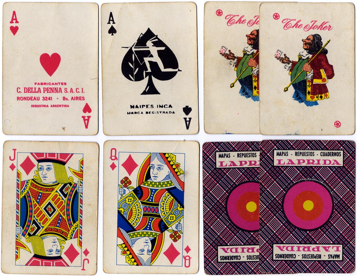 Naipes Inca deck with advertising for Laprida stationers