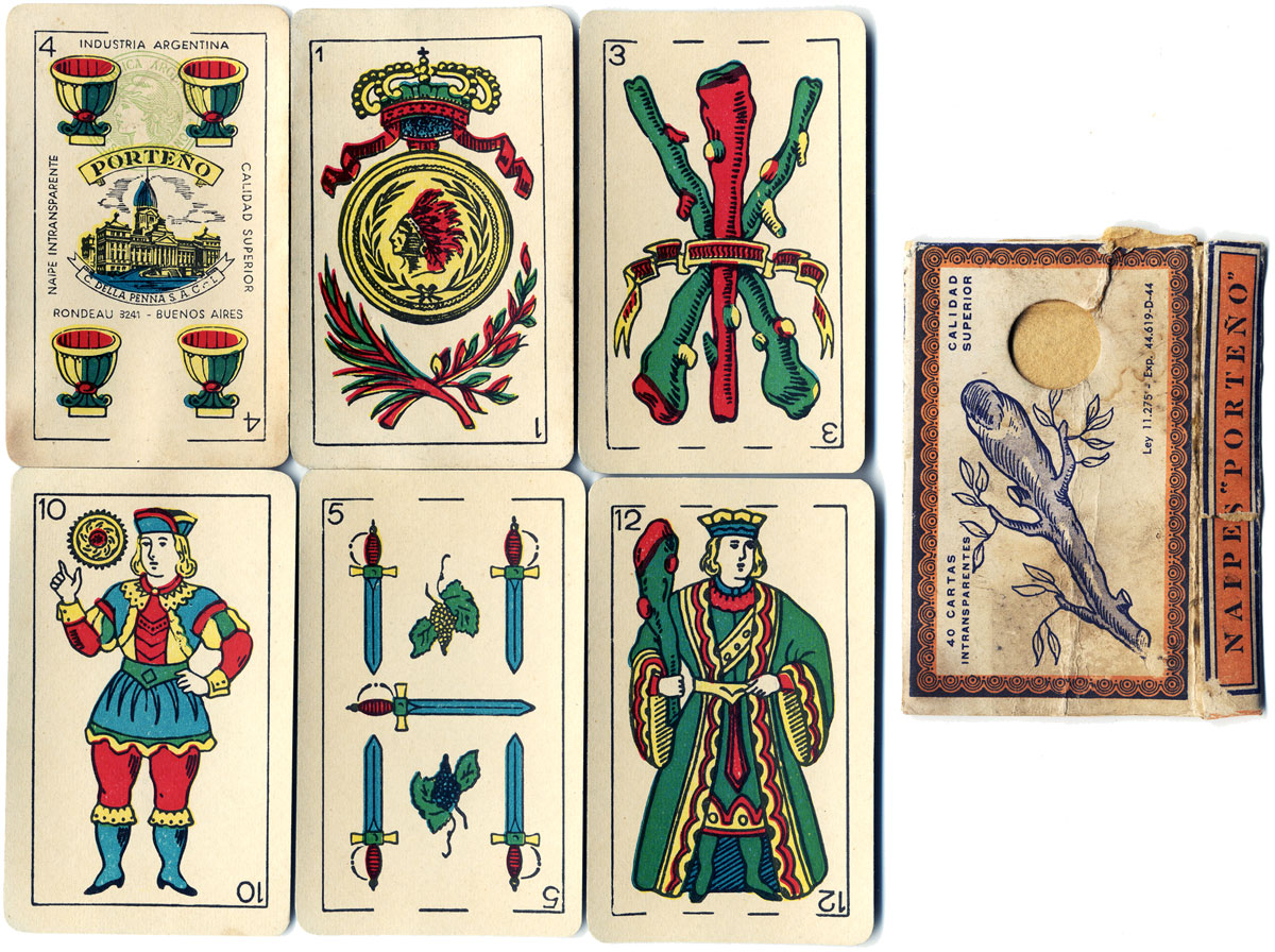 Naipes PORTEÑO Spanish-suited playing cards manufactured by C. Della Penna S.A.C.I., Buenos Aires, c.1955-60
