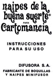 leaflet from Buena Suerte Cartomancy cards published by Difusora S.A., Argentina, c.1975
