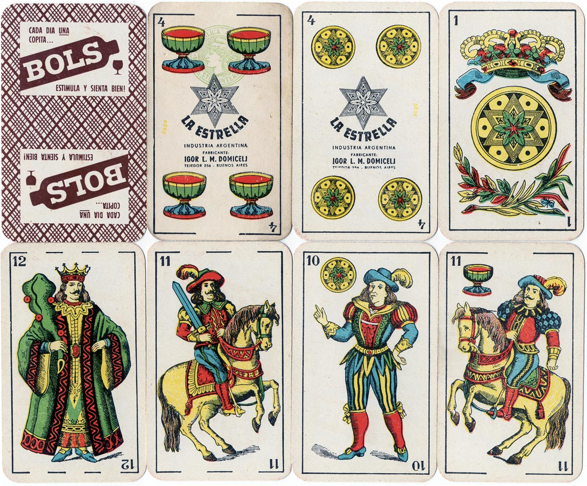"Naipes ""La Estrella"" Spanish-suited playing cards made for BOLS gin by Igor Domicelj, Buenos Aires, c.1954"
