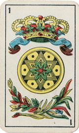 As de oros, naipes La Estrella para Ginebra Bols, hacia 1955
