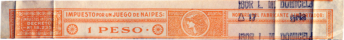 1 Peso orange tax band, c.1950