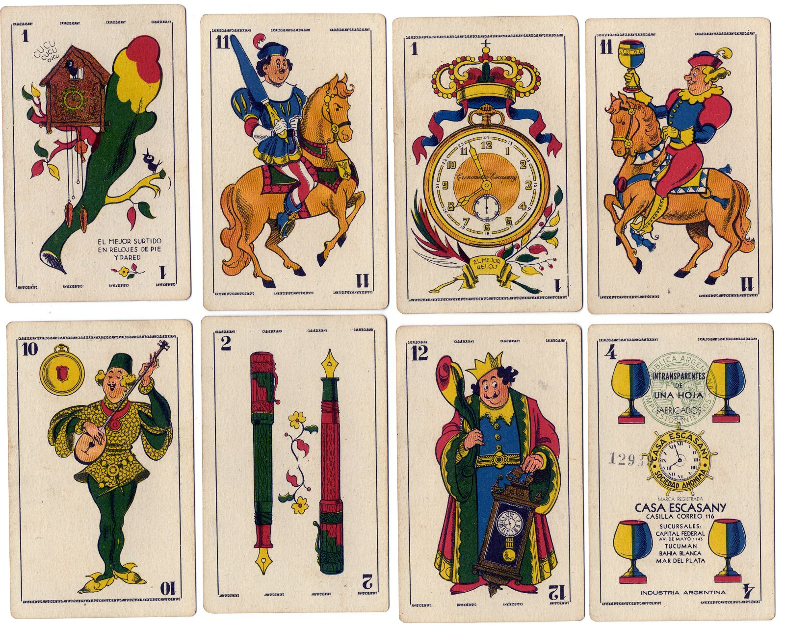 Naipes Casa Escasany ~ promotional playing cards from Argentina, 1930s