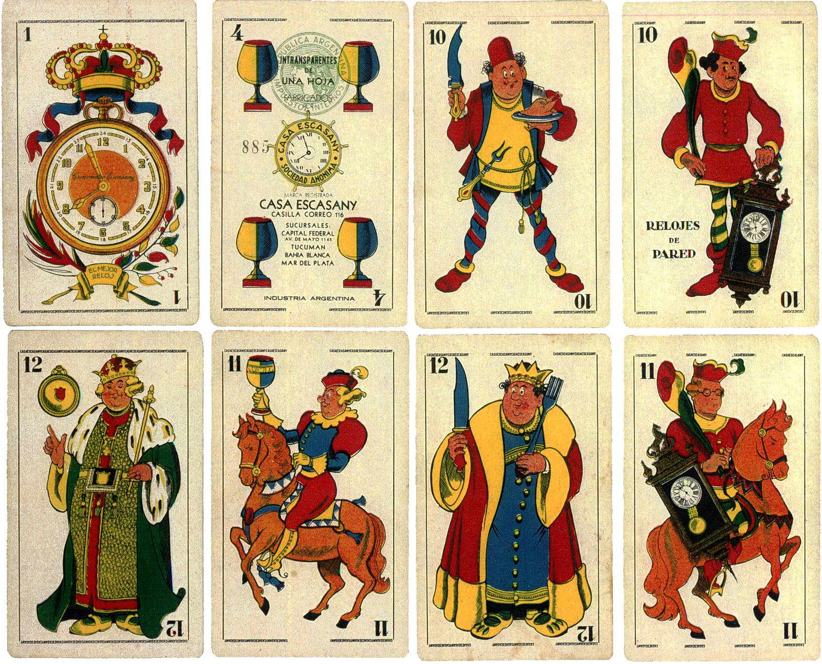 Naipes Casa Escasany, promotional playing cards, Buenos Aires, 1930s