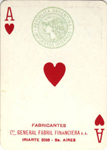 Ace of Hearts with tax stamp, c.1945-50