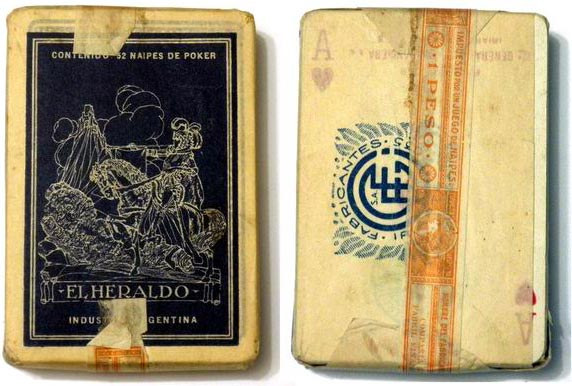 Naipes 'El Heraldo' with wrapper and 1 Peso tax band