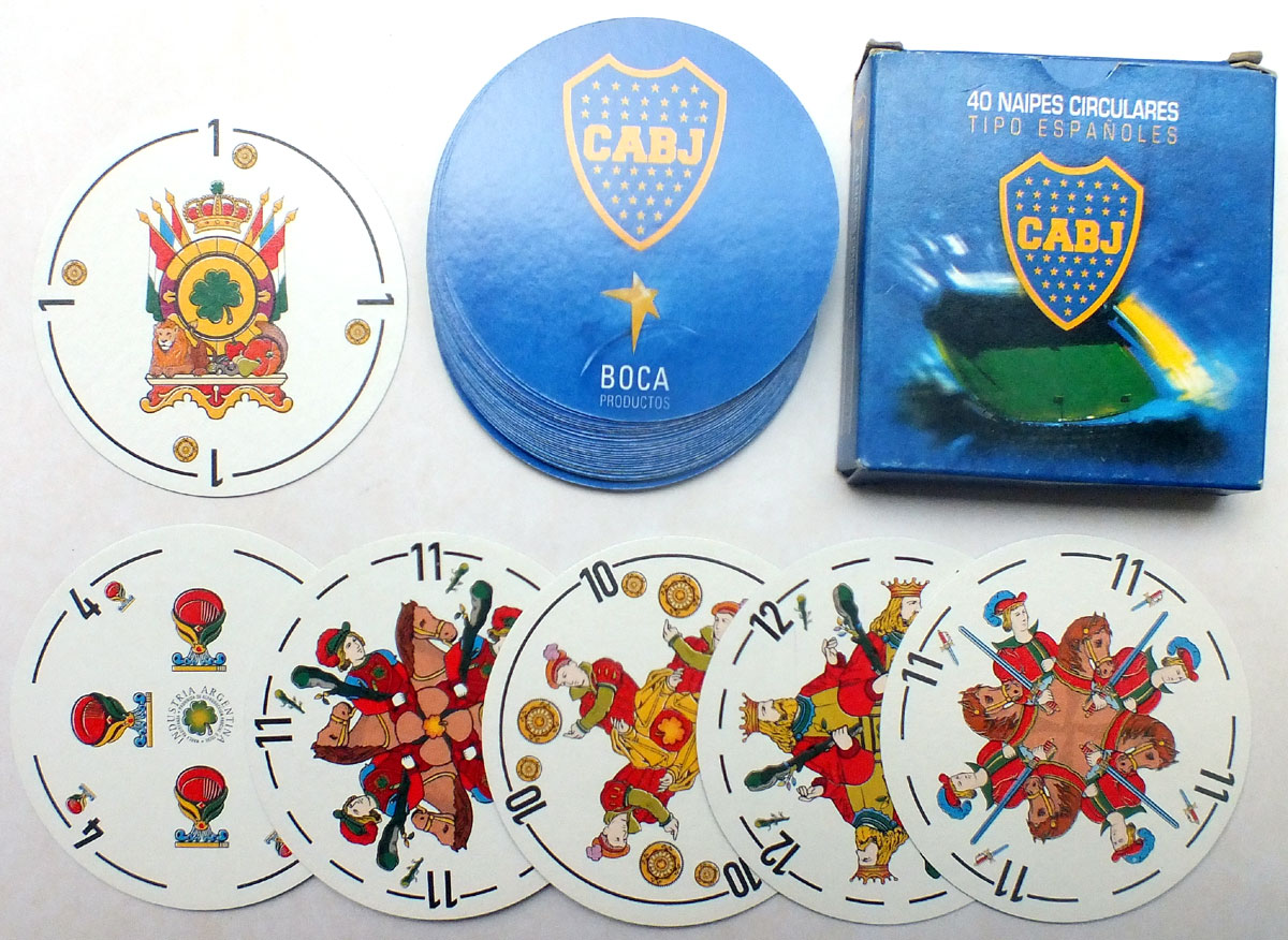 Circular version of Naipes Feroleto for CABJ football club, BOCA Productos, made by Los Remos S.R.L, 2005