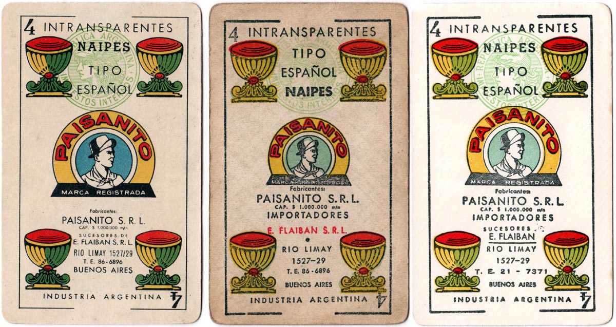 Paisanito playing cards, 1953-54