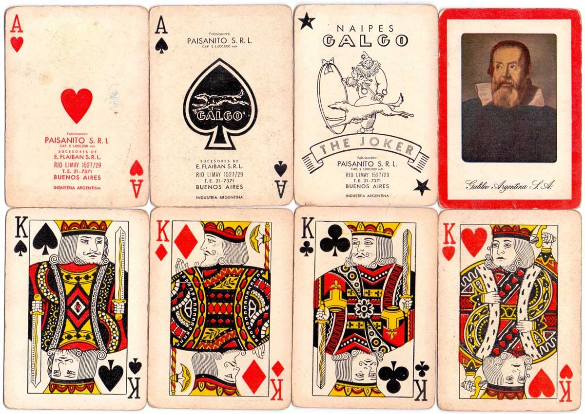 Naipes Galgo made by Paisanito SRL, Rio Limay 1527/29, Buenos Aires, c.1952-53