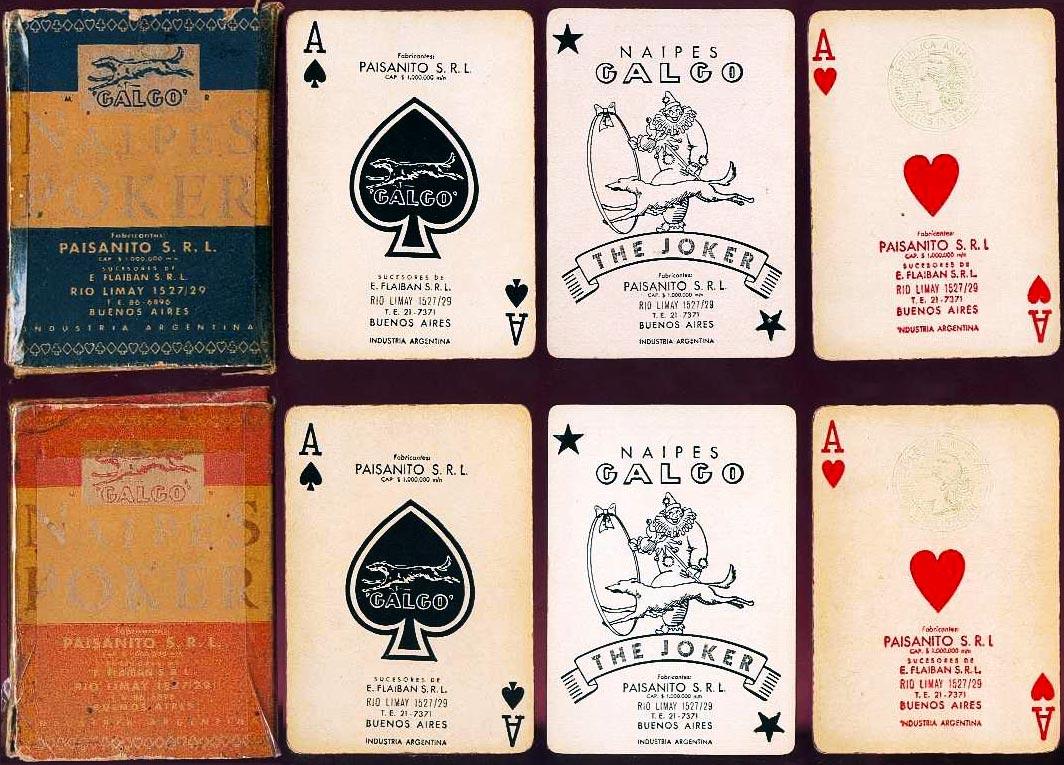 Naipes Galgo made by Paisanito SRL, Rio Limay 1527/29, Buenos Aires, c.1953