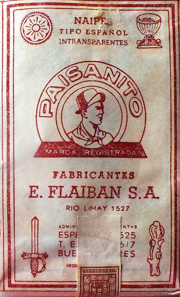 wrapper from packs manufactured by Paisanito S.R.L. c.1952-3
