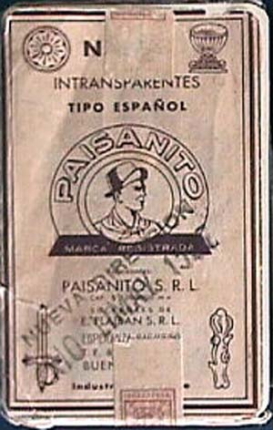wrappers from packs manufactured by Paisanito S.R.L. c.1952-3