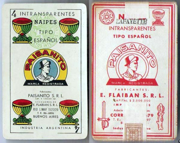 wrapper from pack manufactured by Paisanito S.R.L. c.1953
