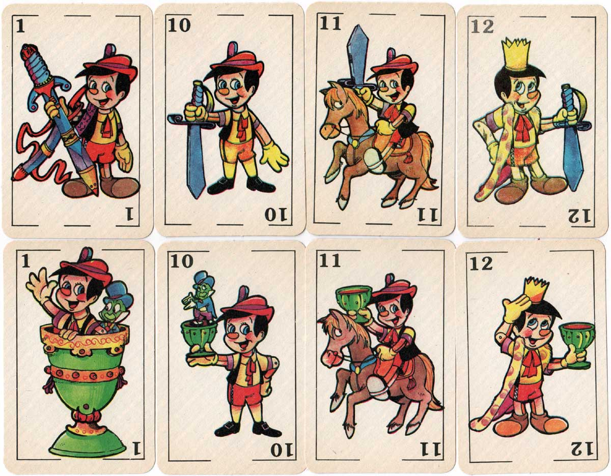 Pinocho children's playing cards published by Editorial Gráfica Flores c.1975
