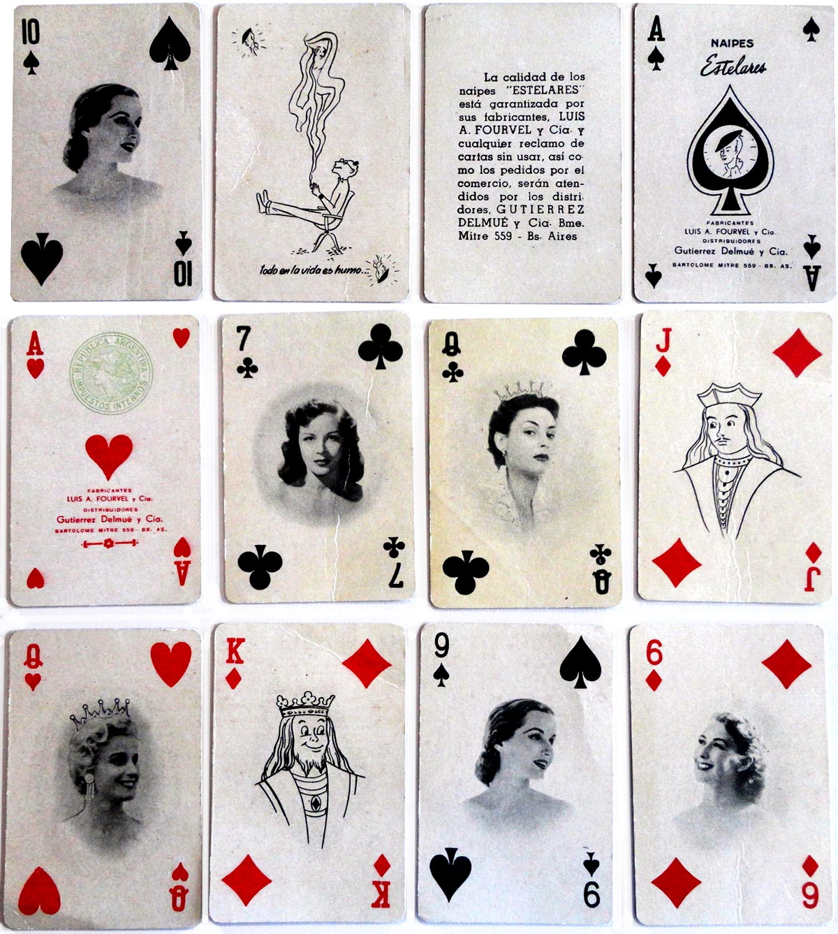 'Naipes Estelares' for Bridge and Canasta manufactured by Luis A. Fourvel y Cía., Buenos Aires, early 1950s