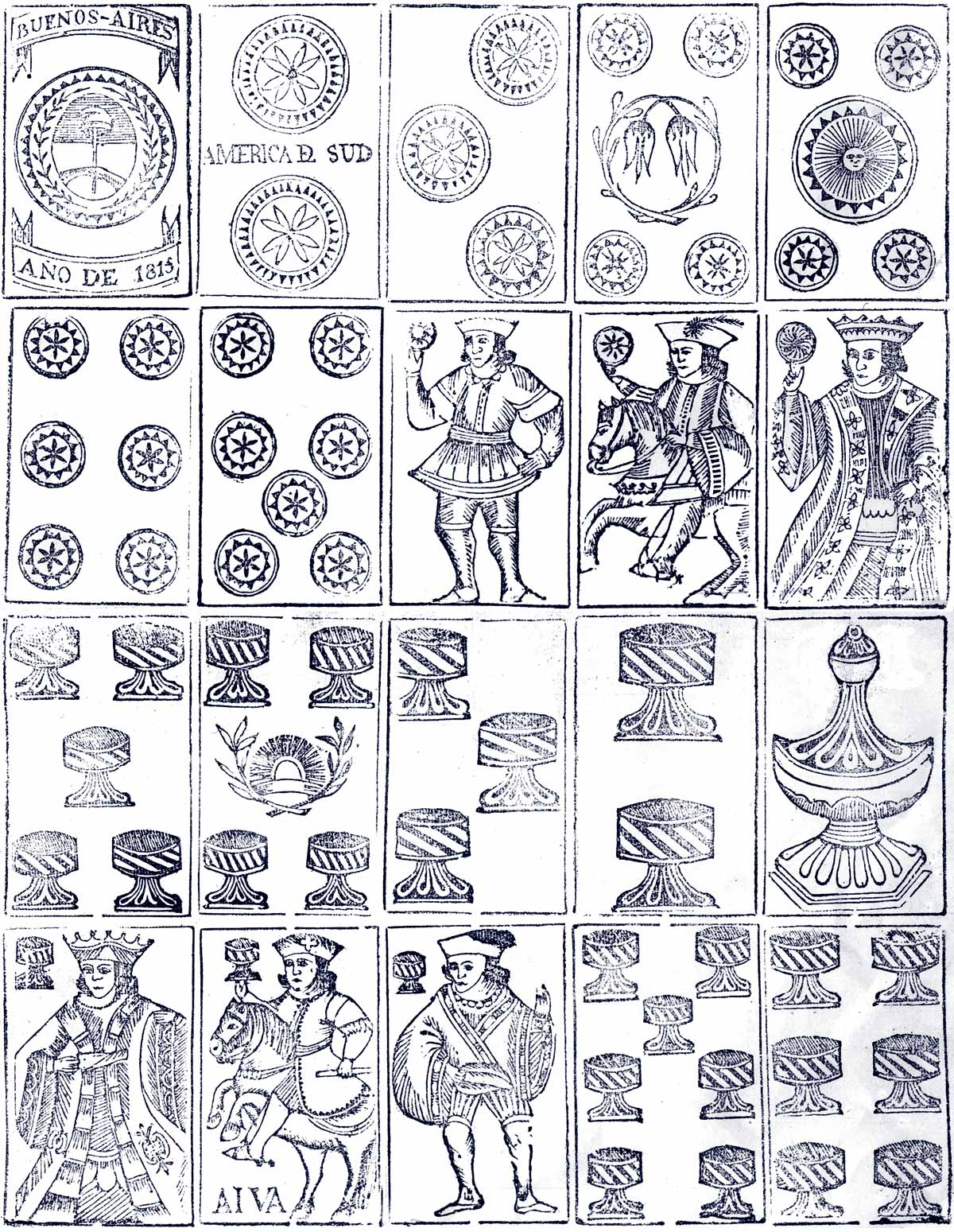 Playing cards made in Buenos Aires, 1815