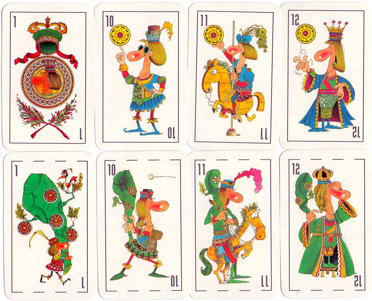 Humorous playing cards designed by Carlos Garaycochea, Buenos Aires, c.2002