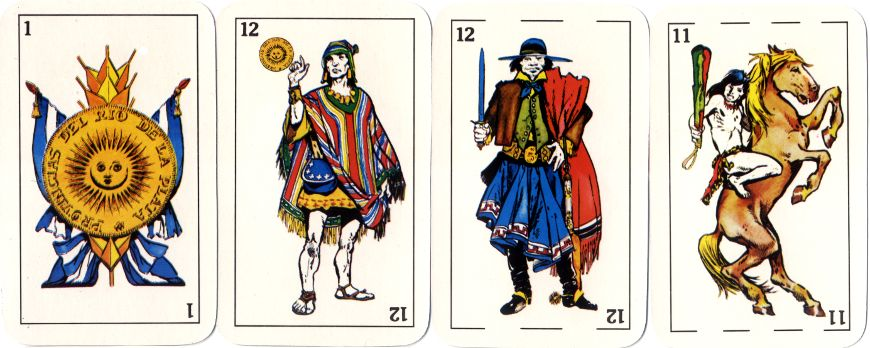 four cards from Naipes Aparcero depicting indigenous tribes
